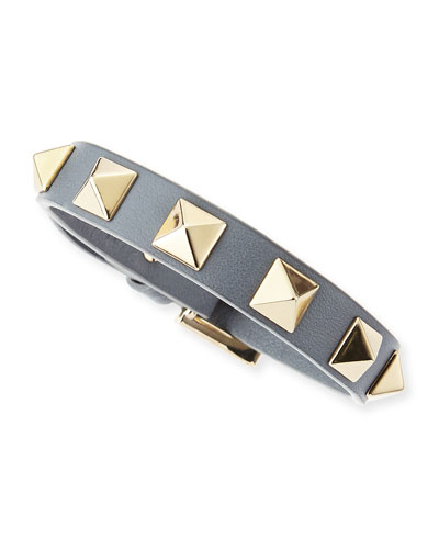 Small Rockstud Leather Bracelet, Gray