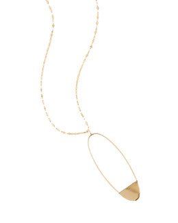 14k Small Linear Eclipse Pendant Necklace