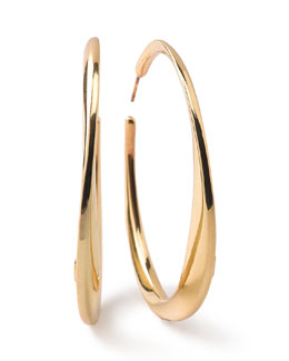 18K Glamazon Heavy Bottom Large Hoop Earrings