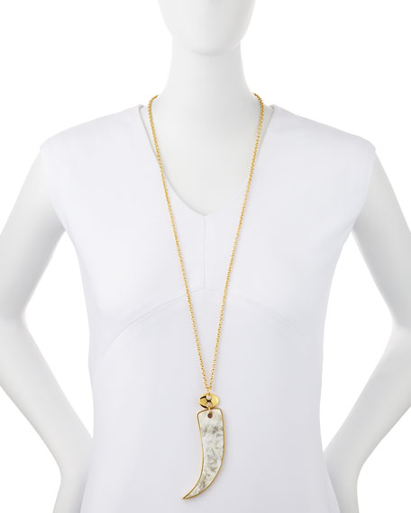 Bezel-Set Horn Pendant Necklace
