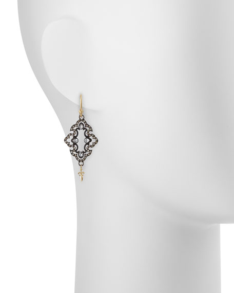 Open Scroll Diamond Drop Earrings