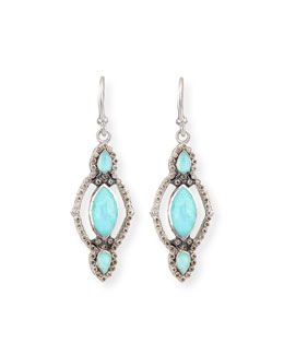 Turquoise & Diamond Elongated Scroll Earrings