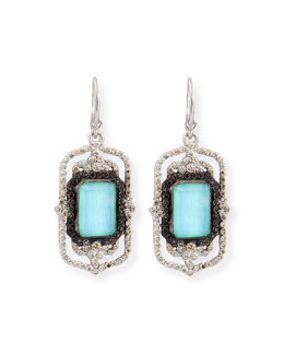 Turquoise Rectangle Scroll Diamond Earrings
