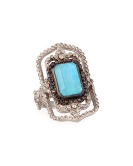 New World Open Rectangle Turquoise Ring