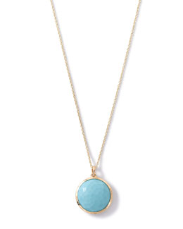 18k Lollipop Medium Round Pendant Necklace