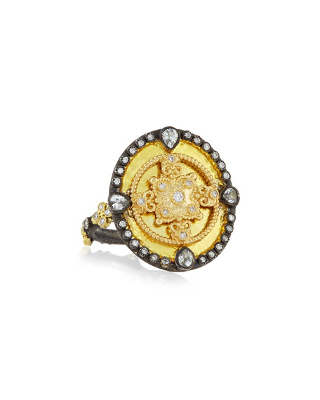 Armenta OId World Heraldry Oval Shield Ring