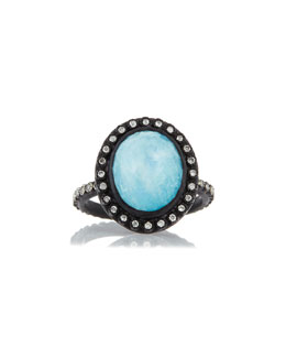 Old World Midnight Oval Turquoise Ring with Diamonds