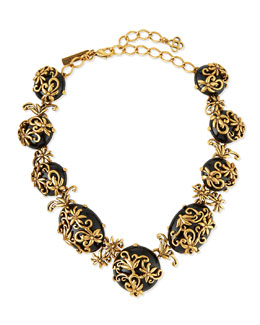 Resin Filigree Collar Necklace, Black