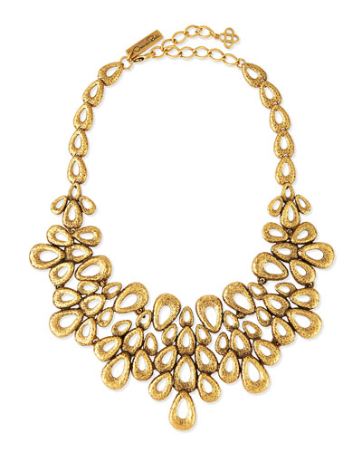 Gold-Plated Teardrop Bib Necklace