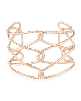 Rose Golden Barbed Crystal Cuff Bracelet