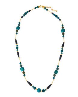 Long Blue Station Necklace, 44