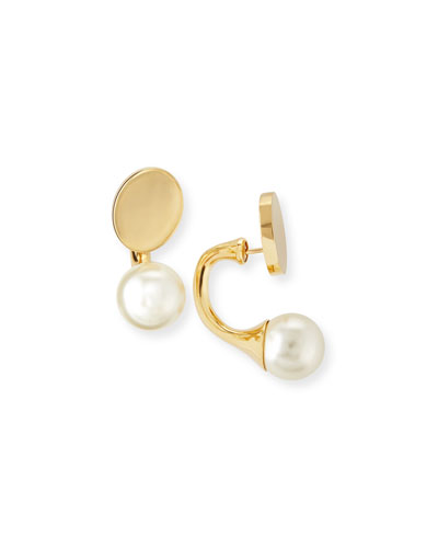 Darcy Simulated Pearl & Disc Earrings