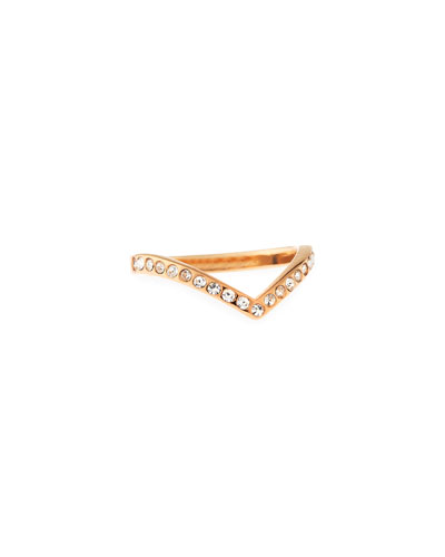 Ultra Mini V Crystal Midi Ring, Rose Golden
