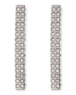 Lia Crystal Bar Earrings, Silvertone