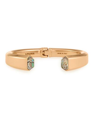 Obsidia Abalone Hinge Bracelet, Rose Gold Plate