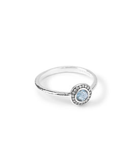 Silver Mini Lollipop Diamond Ring, London Blue Topaz