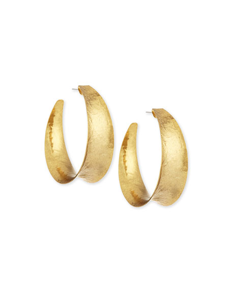 Nest Hammered Brass Graduated Hoop Earrings hU7IG