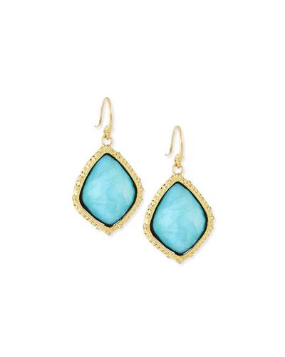 Old World Blue Turquoise Kite Earrings
