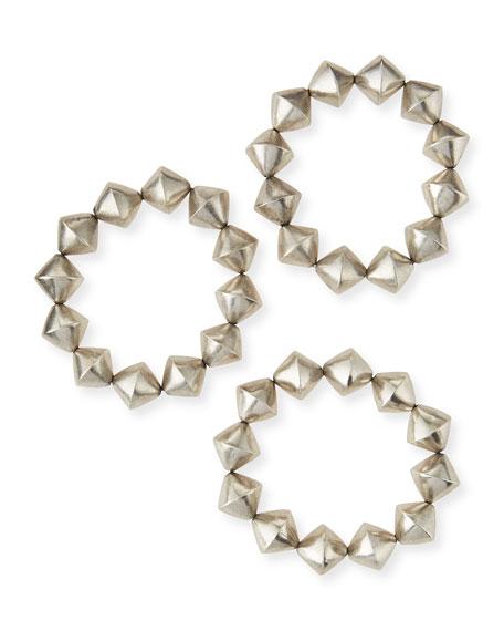 Silver Cone Stretch Bracelets, Set of 3
