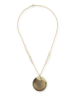 Liquid Metal Long Disk Pendant Necklace, 32