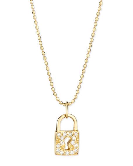 14k Gold Diamond Lock Pendant Necklace