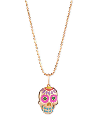 14k Rose Gold Skull Pendant Necklace