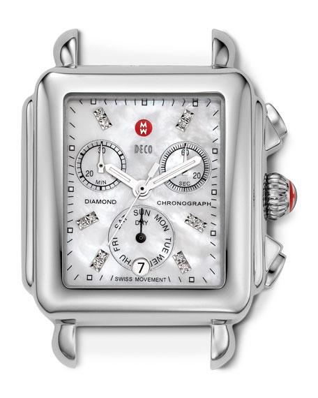 18mm Deco Diamond Dial Watch Head, Steel