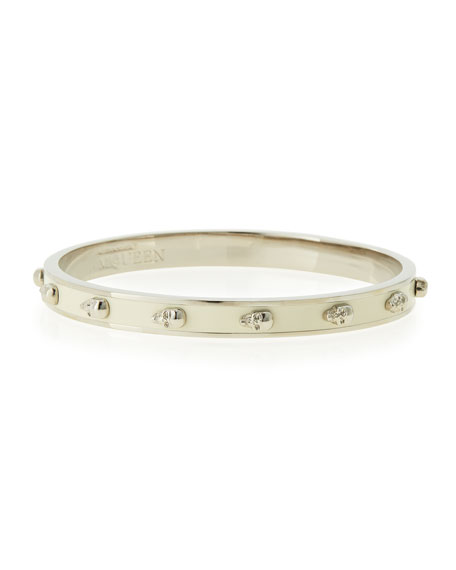 Alexander McQueen Enamel 3D Skull Bangle Bracelet, 6mm