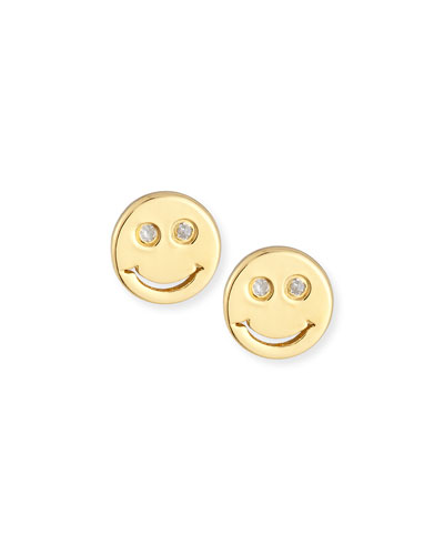 Happy Face Diamond Stud Earrings