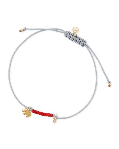 Elephant Bezel Diamond Cord Bracelet