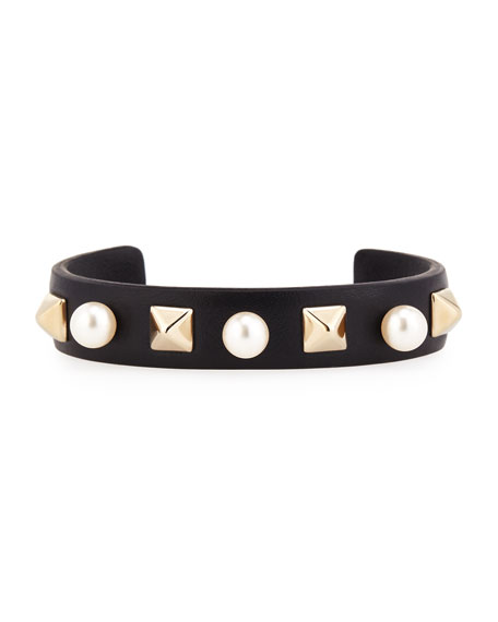 Thin Leather Pearly Stud Cuff, Black