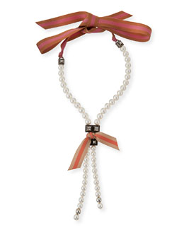 Pearly Ribbon Lariat Necklace