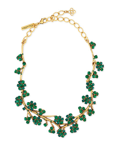 Gold-Plated Crystal Branch Necklace