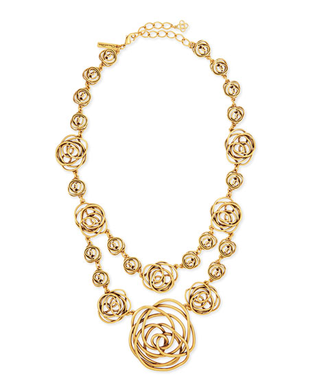 Rose-Motif Wire Necklace