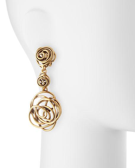 Wire Rose Clip-On Drop Earrings