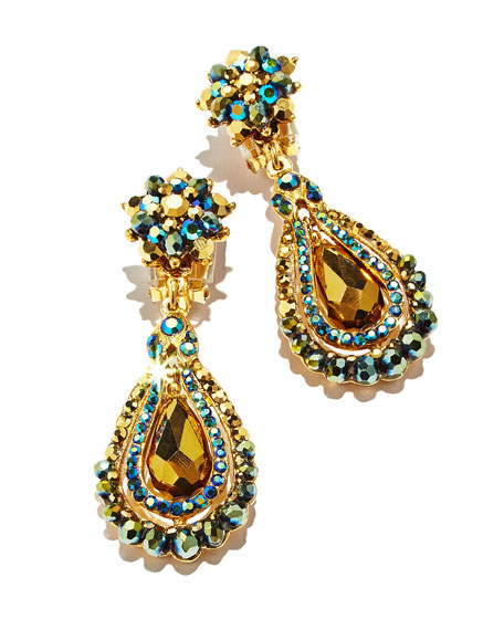 Green Iridescent Crystal Clip-On Earrings