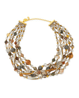 Chunky Multi-Stone Necklace, Gray
