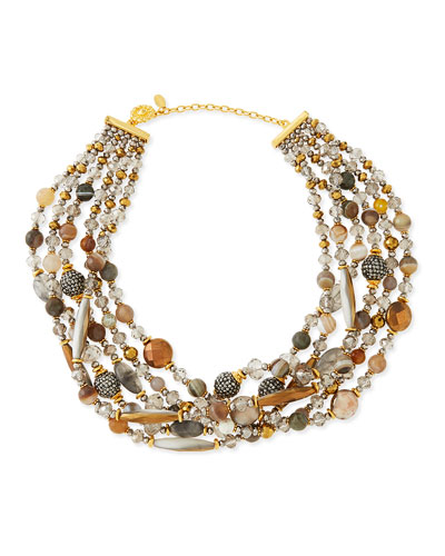 Chunky Multi-Stone Necklace, Gray