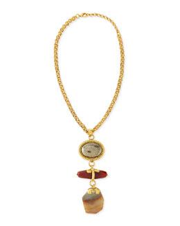 Chunky Multi-Stone Pendant Necklace, 24