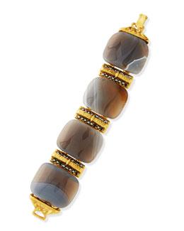 24k Gold Plated Gray Stone Bracelet