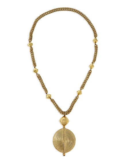 Brass Medallion Long Chain Necklace