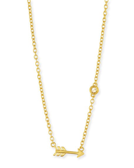 SHY by SE Arrow Bezel-Diamond Pendant Necklace