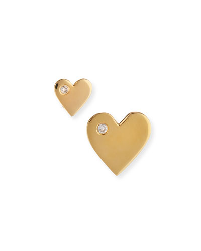 Mini Diamond Heart Stud Earrings
