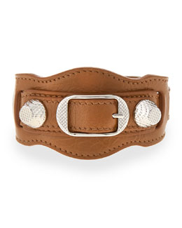 Giant 12 Leather Buckle Bracelet, Tan