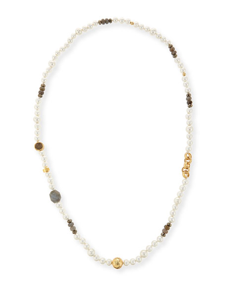 Long Pearl Necklace with Labradorite, Pyrite & Druzy