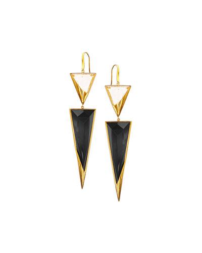 14k Crystal Jet Black Drop Earrings