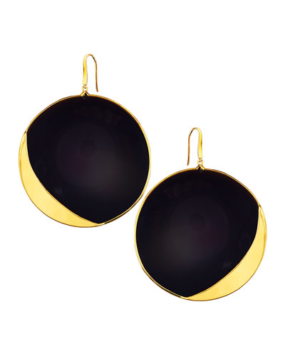 14k Jet Black Disc Earrings