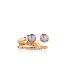 Ultra Mini Double Pearl & Crystal Ring