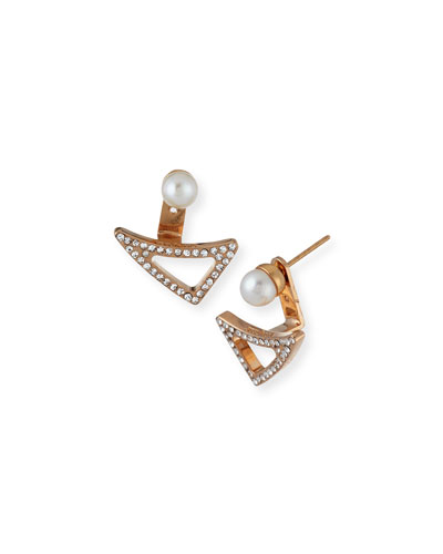 Leaf Crystal and Pearl Jacket Earrings