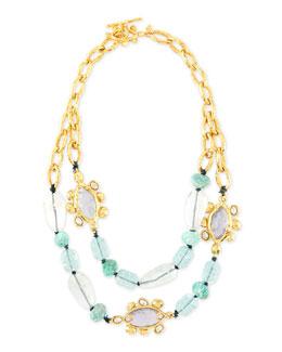 Crystal Flippable-Station Bib Necklace